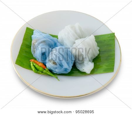Thai Steamed Rice Skin Dumpling On White Background