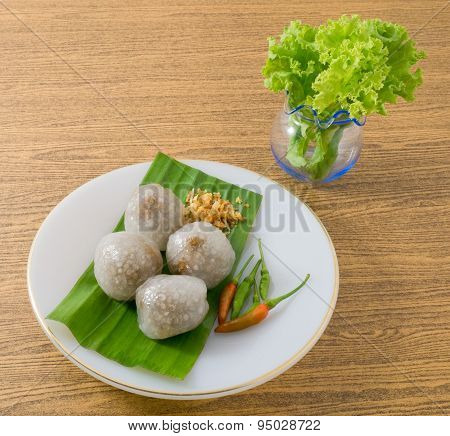 Thai Steamed Tapioca Balls Served With Lettuce Leaves