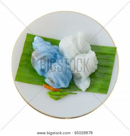Thai Steamed Rice Skin Dumpling On A White Background