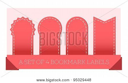 Red Ribbons And Bookmark Labels Set