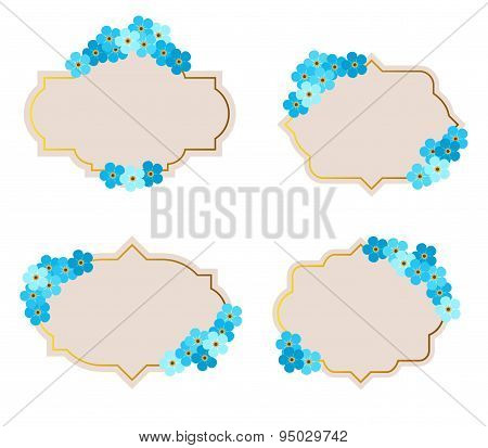 collection of vector frames with forget-me-not flowers in retro style