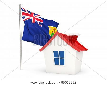 House With Flag Of Turks And Caicos Islands