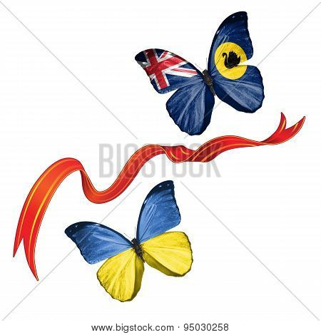 Two butterflies with symbols of Ukraine and Western Australia