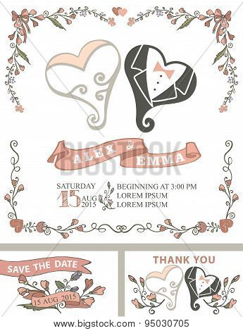 Vintage wedding invitation set.Stylized hearts,floral decor