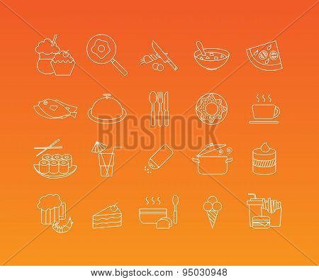 Food mono line icon set