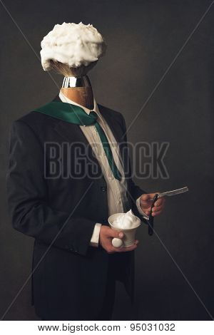 Man In Suit With Razor, Bristle And Shaving Bowl