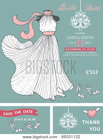 Bridal shower invitation template.Bridal dress,chandelier