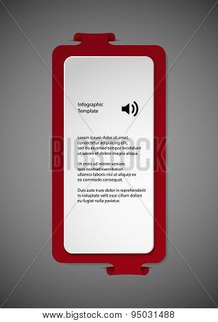 Illustration With Red Shape Template On Dark