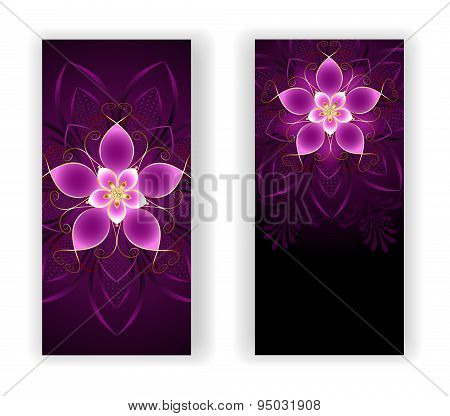 Two Banners With Pink Flower