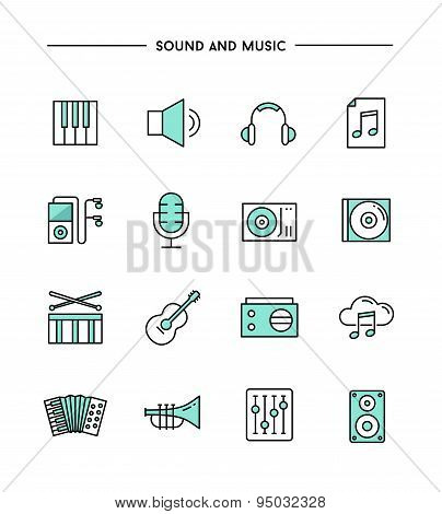 Set Of Flat Design, Thin Line Sound And Music Icons