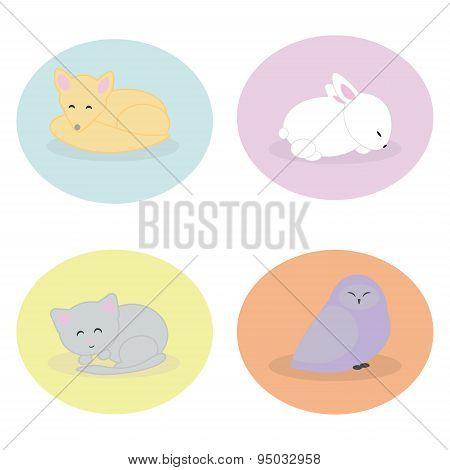 Set of cute animals sleeping