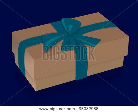 Beautiful beige gift box with purple bow on blue background