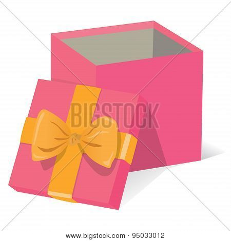 Beautiful open pink gift box with yellow decoration on a white background