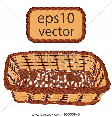 Brown vector wicker basket handmade