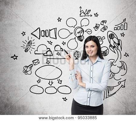 Young Brunette Business Woman Is Thinking About Optimisation Process. Chalk Icons Ar