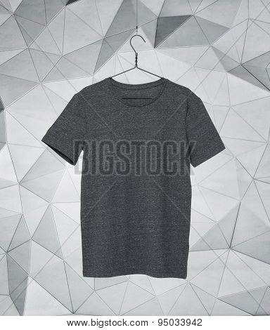 Close Up Of A Grey T-shirt On Cloth Hanger. Modern Background.