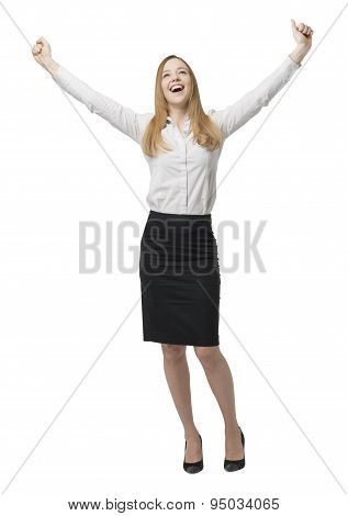 Full-length Of Happy Business Lady. Hands Up. Isolated On White Background.