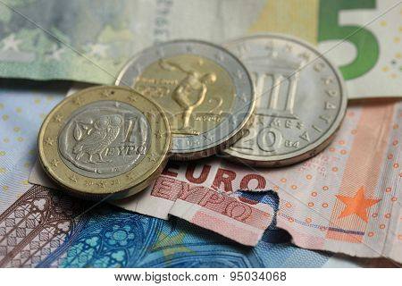 Greek And Euro Money