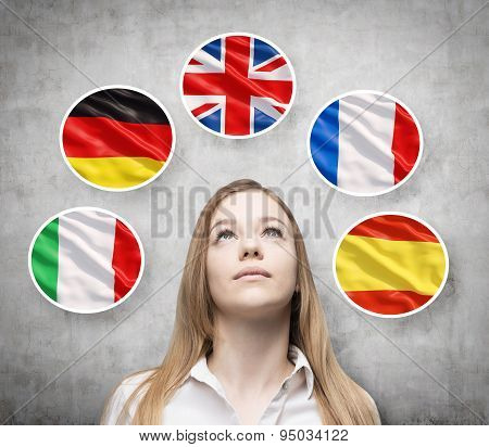 Beautiful Lady Is Surrounded By Bubbles With European Countries' Flags (italian, German, Great Brita