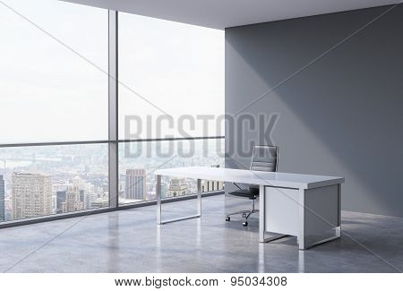 A Workplace In A Modern Corner Panoramic Office In New York, Manhattan. A Concept Of Financial Consu