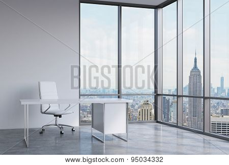A Workplace In A Modern Corner Panoramic Office In New York, Manhattan. A White Leather Chair And A