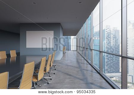 Panoramic Conference Room In Modern Office In Singapore. Brown Chairs And A Black Table. 3D Renderin