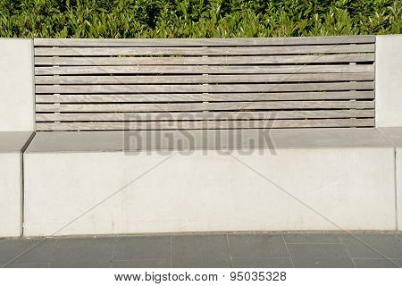 Concrete Bench With Wooden Backrest