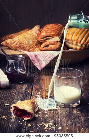 Breakfast Pastries With Jam And Milk