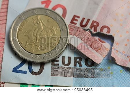 Torn Euro Note