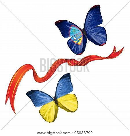 Two butterflies with symbols of Ukraine and Guam