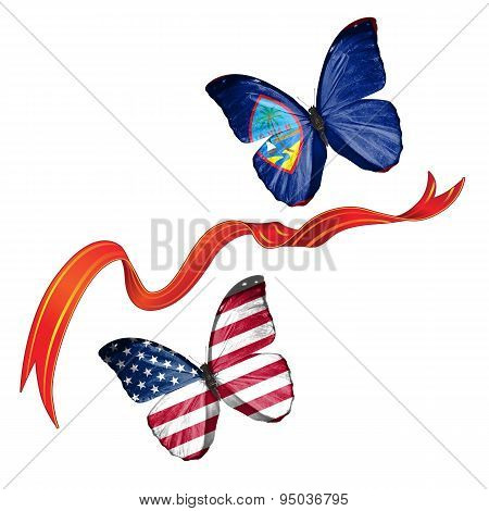 Two butterflies with symbols of USA and Guam