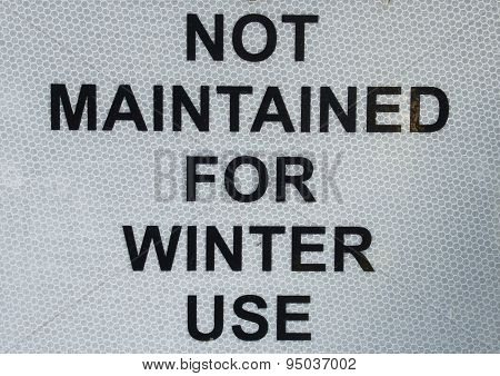 Winter Use Sign
