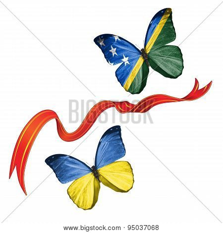 Two butterflies with symbols of Ukraine and Solomon Islands