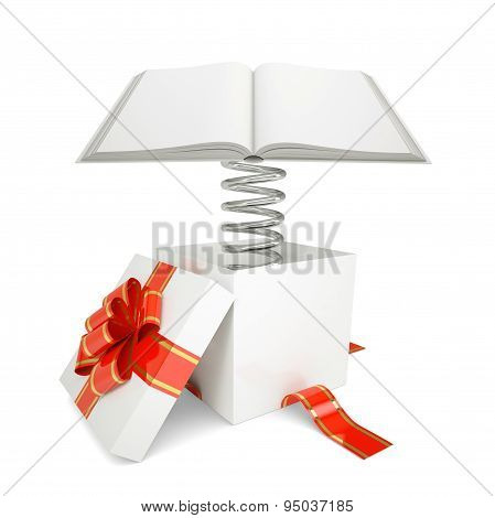 Gift box with red band and open book