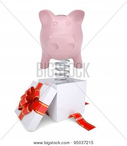 Gift box with red band and piggy bank