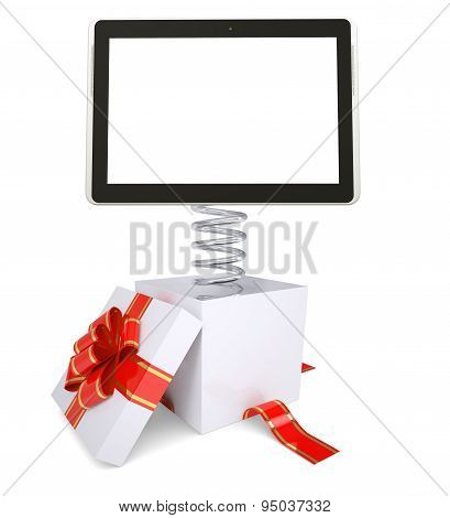 Gift box with red band and tablet
