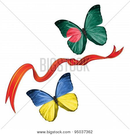 Two butterflies with symbols of Ukraine and Bangladesh