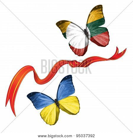 Two butterflies with symbols of Ukraine and Shan State