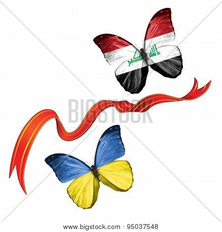 Two butterflies with symbols of Ukraine and Iraq