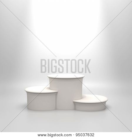 Empty round white podium.