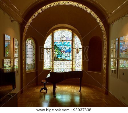 Stained glass and piano.