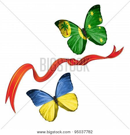 Two butterflies with symbols of Ukraine and Cocos Islands