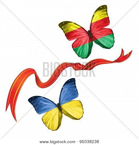 Two butterflies with symbols of Ukraine and Syrian Kurdistan