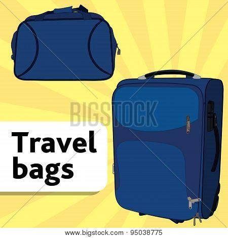 Couple blue travel bags