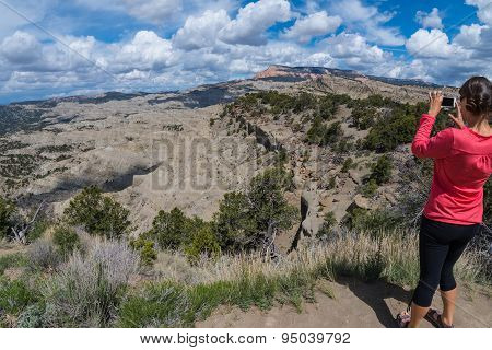 Girl Taking Picture With Her Smartphone - Table Cliff Plateau
