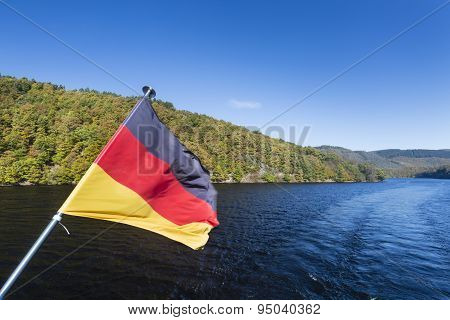 Rur Lake And German Flag