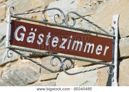 German Guest Room Sign, Eifel