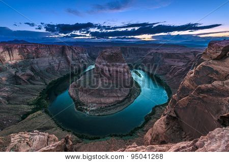 Horseshoe Bend Meander Of The Colorado River Page Arizona After Sunset