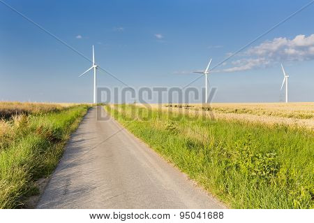 Road Leading To Wind Turbines