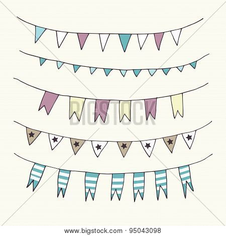 Bunting and garlands doodle set